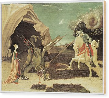 Saint George And The Dragon Wood Print by Paolo Uccello