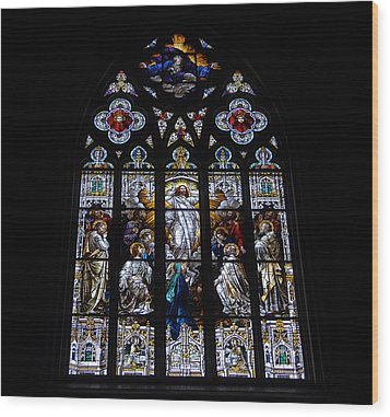Saint Johns Stained Glass Wood Print by David Lee Thompson