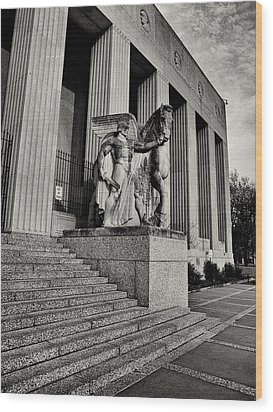 Saint Louis Soldiers Memorial Exterior Black And White Wood Print by Joshua House