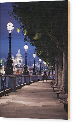 Saint Paul's Cathedral As Seen From The Queen's Walk Along The Thames River In London.  2007. Wood Print by Uyen Le
