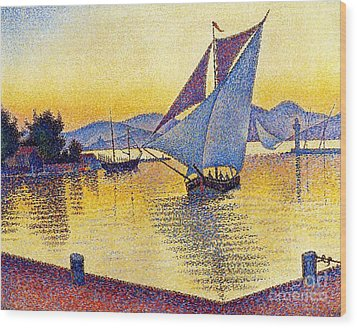 Saint Tropez At Sunset Wood Print by Pg Reproductions
