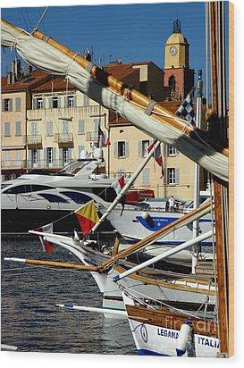 Saint Tropez Harbor Wood Print by Lainie Wrightson
