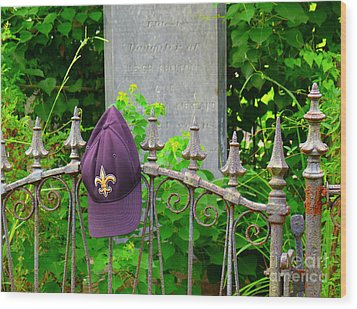 Wood Print featuring the photograph Saints Hat On Iron Fence by Jeanne  Woods