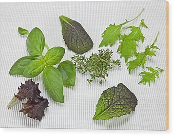 Salad Greens And Spices Wood Print by Joana Kruse
