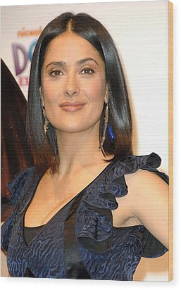 Salma Hayek At A Public Appearance Wood Print by Everett