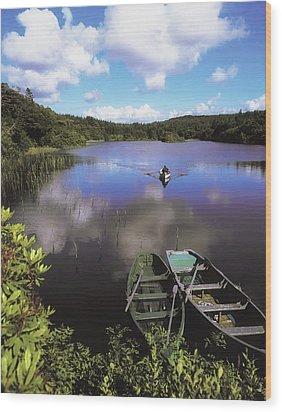 Salmon Fishing, Ballinahinch Wood Print by The Irish Image Collection