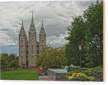 Salt Lake City Temple Grounds Wood Print by La Rae  Roberts
