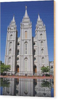 Salt Lake Mormon Temple Wood Print by Gary Whitton