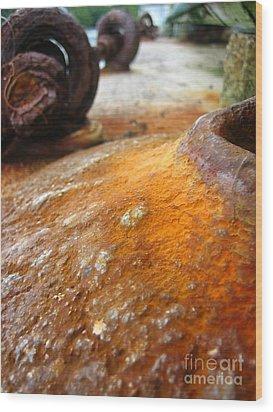 Salt Water Rust Wood Print by Joe Finney