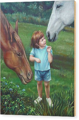 Wood Print featuring the painting Samantha Becomes An Equestrian by Nancy Tilles
