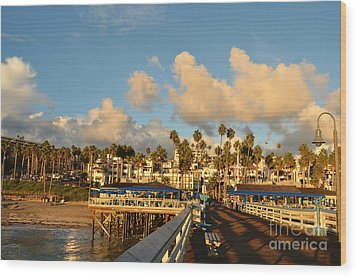 San Clement Pier And Coast Wood Print by Timothy OLeary