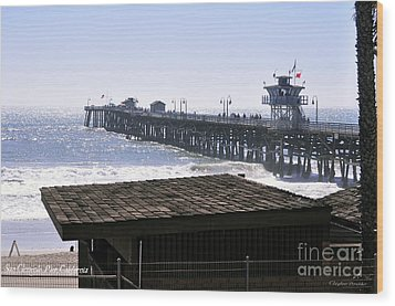 San Clemente Pier California Wood Print by Clayton Bruster