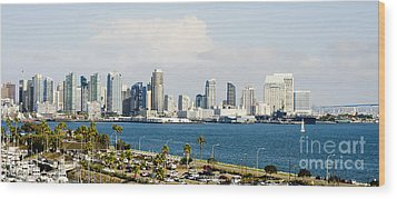 Wood Print featuring the photograph San Diego Bay Skyline by MaryJane Armstrong