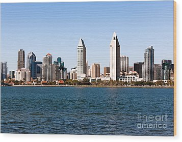 San Diego City Skyline Wood Print by Paul Velgos