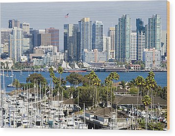 San Diego Cityscape Wood Print by MaryJane Armstrong