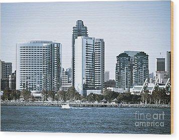 San Diego Downtown Waterfront Buildings Wood Print by Paul Velgos