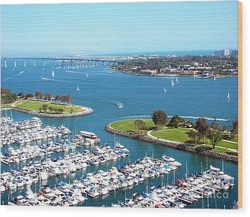 San Diego Marina And Bay Wood Print by Cedric Hampton