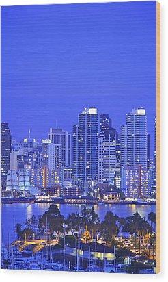 San Diego Skyline And Harbour Island Wood Print by Stuart Westmorland
