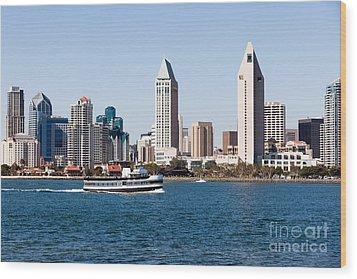 San Diego Skyline And Tour Boat Wood Print by Paul Velgos