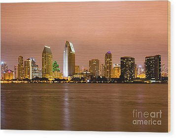 San Diego Skyline At Night Wood Print by Paul Velgos