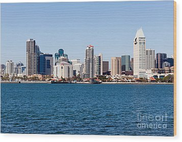 San Diego Skyline Buildings Wood Print by Paul Velgos