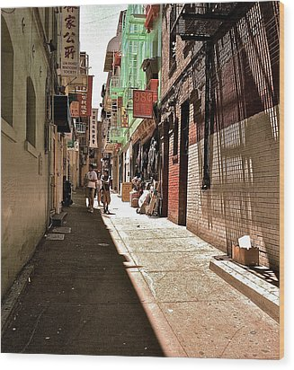 Wood Print featuring the photograph San Fran Chinatown Alley by Bill Owen
