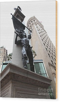 San Francisco - Monument On Market Street - 5d17845 Wood Print by Wingsdomain Art and Photography