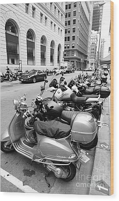 San Francisco - Scooters And Motorcycles Along Sansome Street - 5d17657 - Black And White Wood Print by Wingsdomain Art and Photography
