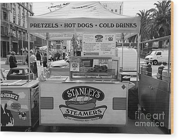 San Francisco - Stanley's Steamers Hot Dog Stand - 5d17929 - Black And White Wood Print by Wingsdomain Art and Photography