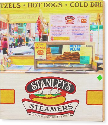 San Francisco - Stanley's Steamers Hot Dog Stand - 5d17929 - Square - Painterly Wood Print by Wingsdomain Art and Photography