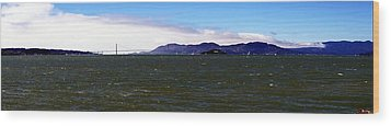San Francisco Bay Panorama Wood Print by Michael Courtney