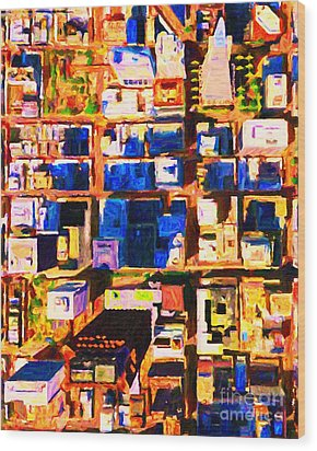 San Francisco Birdseye Abstract . Painterly Wood Print by Wingsdomain Art and Photography