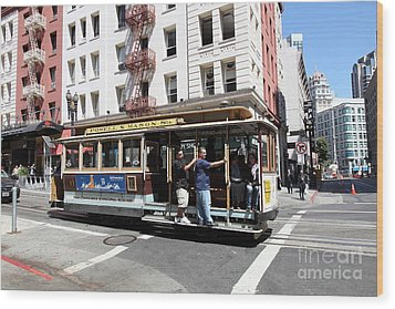 San Francisco Cable Car On Powell Street - 5d17957 Wood Print by Wingsdomain Art and Photography
