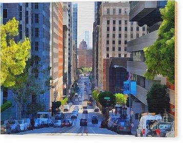 San Francisco California Street  . 7d7186 Wood Print by Wingsdomain Art and Photography