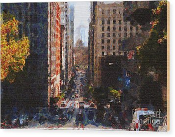 San Francisco California Street  . Painterly . 7d7186 Wood Print by Wingsdomain Art and Photography