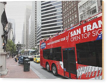 San Francisco Double Decker Tour Bus On Market Street - 5d17844 Wood Print by Wingsdomain Art and Photography