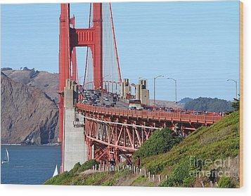 San Francisco Golden Gate Bridge . 7d8151 Wood Print by Wingsdomain Art and Photography