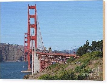 San Francisco Golden Gate Bridge . 7d8158 Wood Print by Wingsdomain Art and Photography
