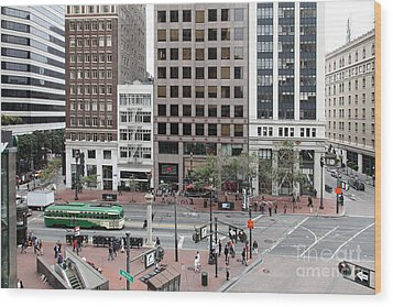 San Francisco Market Street - 5d17877 Wood Print by Wingsdomain Art and Photography