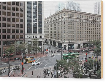 San Francisco Market Street - 5d17883 Wood Print by Wingsdomain Art and Photography