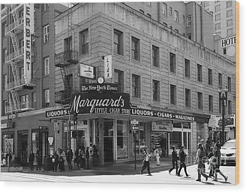 San Francisco Marquards Little Cigar Store Powell Street - 5d17950 - Black And White Wood Print by Wingsdomain Art and Photography