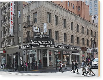 San Francisco Marquards Little Cigar Store Powell Street - 5d17950 Wood Print by Wingsdomain Art and Photography