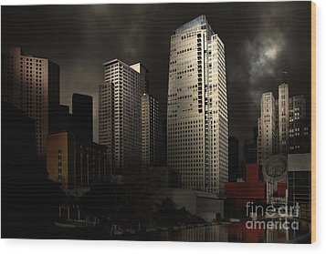 San Francisco Nights At The Yerba Buena Garden . 7d4262 Wood Print by Wingsdomain Art and Photography