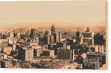 San Francisco Skyline 1909 Showing South Of Market Street Wood Print by Wingsdomain Art and Photography
