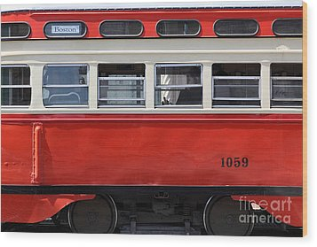 San Francisco Vintage Streetcar On Market Street - 5d18002 Wood Print by Wingsdomain Art and Photography