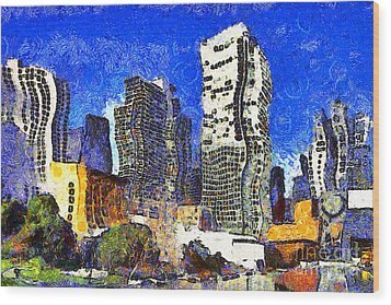 San Francisco Yerba Buena Garden Through The Eyes Of Van Gogh . 7d4262 Wood Print by Wingsdomain Art and Photography