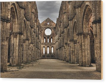 San Galgano  - A Ruin Of An Old Monastery With No Roof Wood Print by Joana Kruse