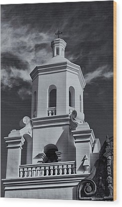 Wood Print featuring the photograph San Xavier Tower by Tom Singleton