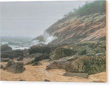 Sand Beach - Acadia Wood Print by Mary Hershberger