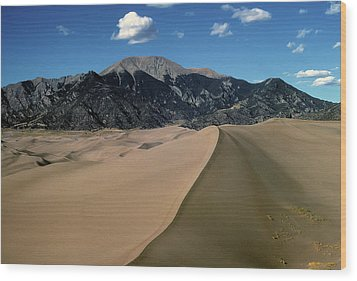 Sand Dunes With Mount Blanca Wood Print
